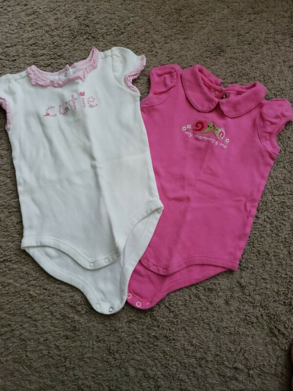 Lot Of 2 Gymboree Baby Girls 12-18 Months Bodysuits Pink Snails Floral Euc