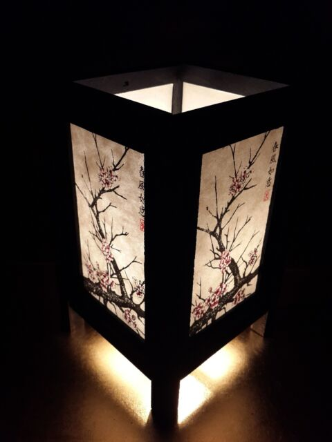 Asian Oriental Japanese Cherry Blossom Tree Art Bedside Desk Table Lamp