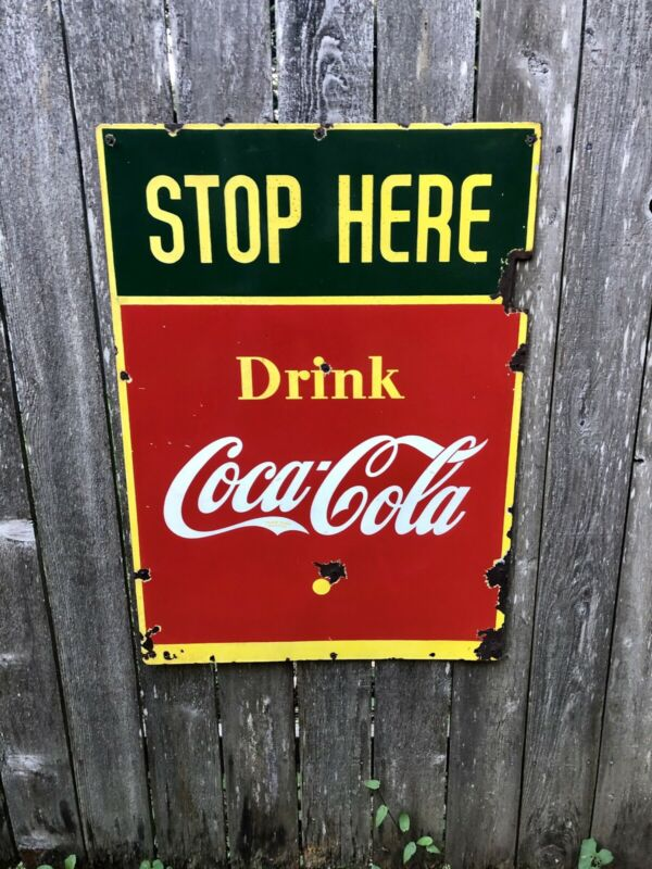1941 Coca Cola (Stop Here) Sign - Porcelain and Double Sided