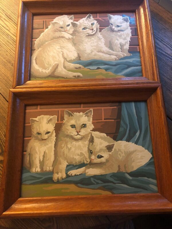 Vintage Paint-by-Number White Cats