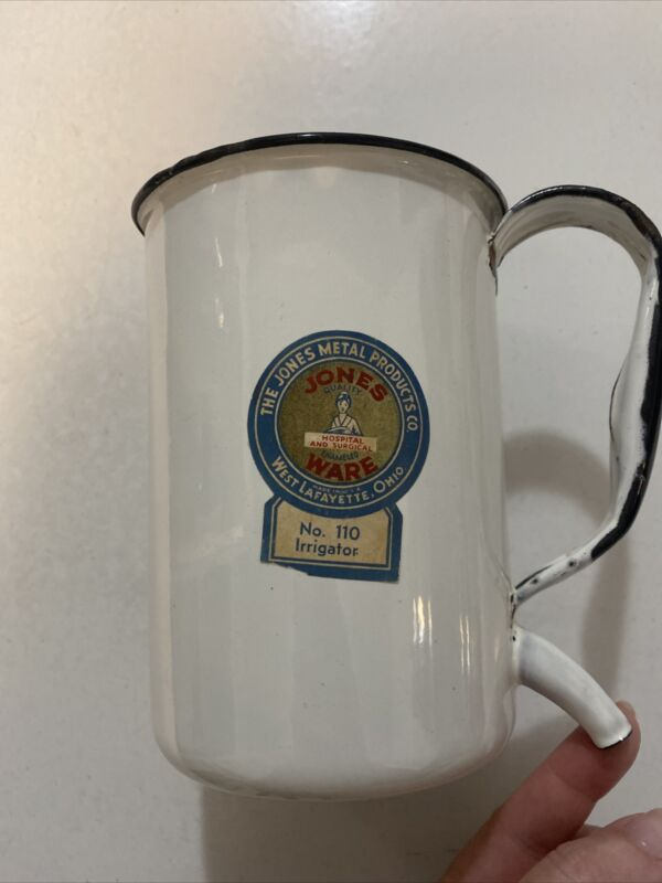 Vintage Enamel Ware Jones Label Hospital Surgical Ware Irrigator White Porcelain
