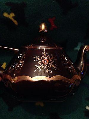 Porcelain Brown Teapot, Gold Trim & Flowers, Hand Painted Enamel Accents,