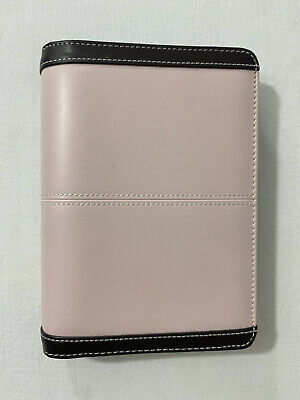365 By Franklin Covey Pink Brown Faux Leather Zip Around Planner Binder