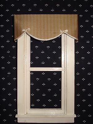 Sage Green Silk Stripe Valance Dollhouse Curtains - 3