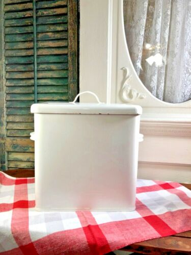 VINTAGE ANTIQUE WHITE EXTRA LARGE BREAD BOX WITH LID ENAMELWARE FARMHOUSE HTF