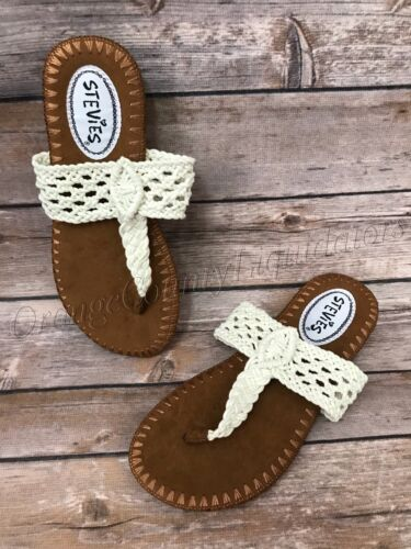 Girls Stevies Ivory Knits Sandals Flip Flop Size S 12/13, M