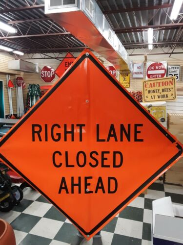 """Right Lane Closed Ahead Sign Fluorescent Vinyl with Ribs 48""""x 48"""""""