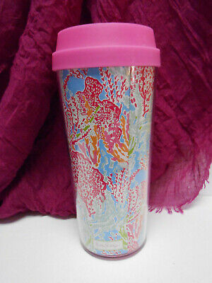 16 Oz Commuter Tumbler - Lilly Pulitzer Travel Coffee Mug Lovers Coral Double Wall Commuter Tumbler 16 oz