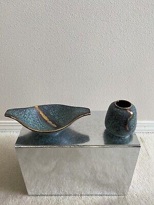Vintage Turquoise Gold Pottery Ceramic Decor Dish Bowl and Mini Vase W Germany