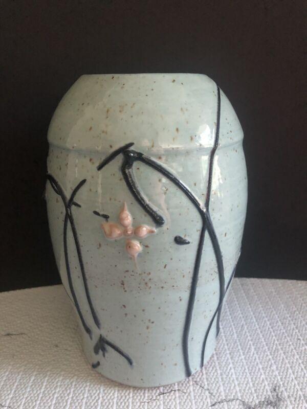 "Studio Pottery 7.5"" Hand Thrown Handmade Vase Speckled Robins Egg Blue"