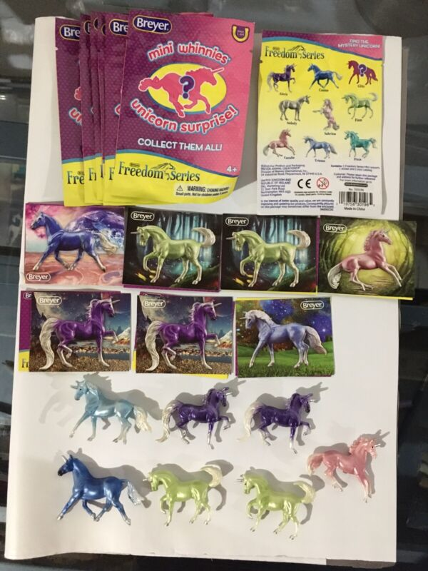 Breyer Mini Whinnies Unicorn Surprise. Freedom Series. Lot Of 7 Mini Unicorns