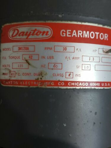 Dayton Model 3M128A, 30 RPM gearmotor