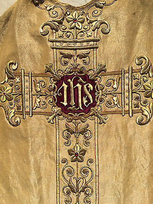 Spectacular antique chasuble GOLD stumpwork vestment  embroidery cloth of gold