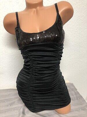 Sexy Mini Kleid Gogo Outfit Paillettenkleid Schwarz Gr.M ()