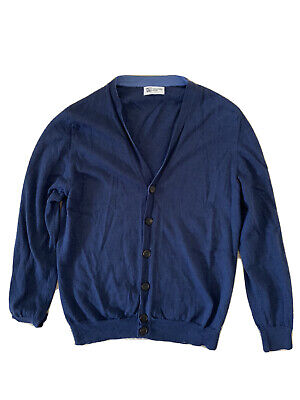 Johnstons Of Elgin Men's Cardigan Blue Medium Wool