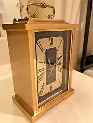 BULOVA Quartz DESK Mantle Golden Clock No 4RE604 - Clean Condition!