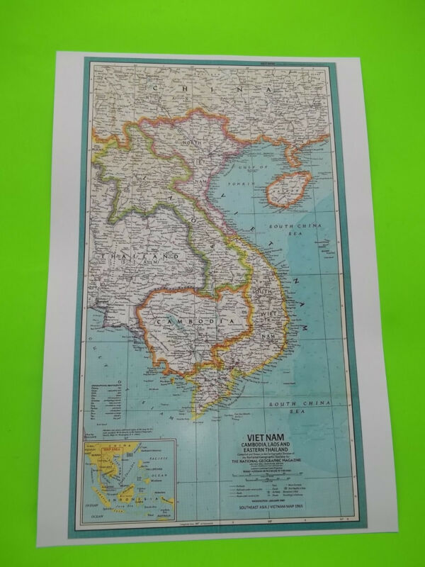 """18"""" x 12"""" MAP OF 1965 VIETNAM and SURROUNDING AREAS, Good quality for display"""