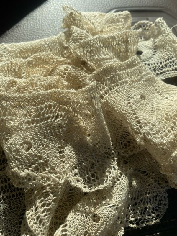 "149"" Antique Victorian Ecru Crocheted Lace Trim, Edging, Doll Vintage Salvage"