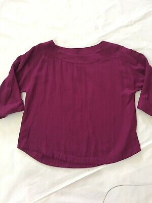 Soft Surroundings Plum Boat Neck Shirt Top 3/4 Sleeve Tunic Women's XS