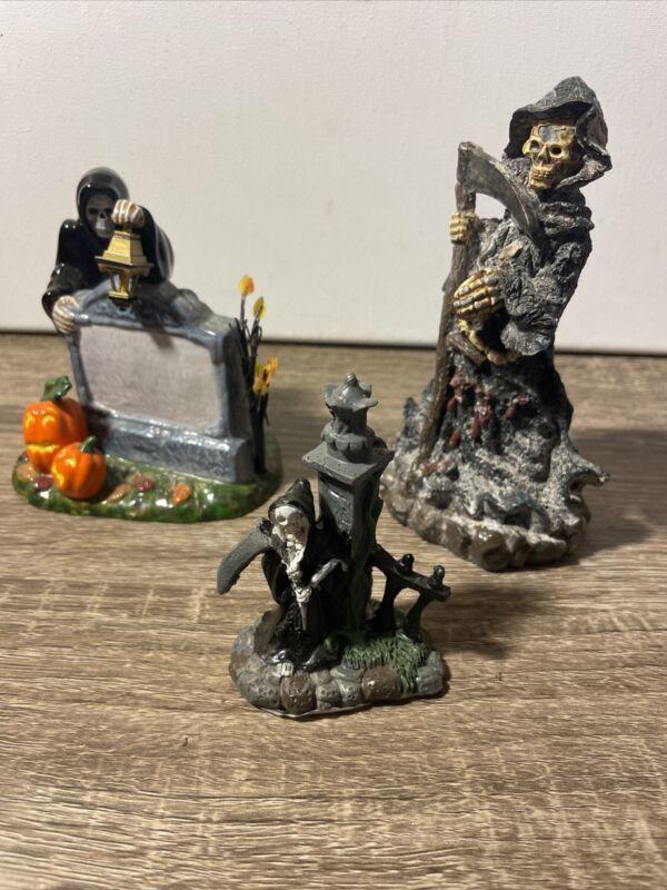 Lemax Spooky Town Halloween village grim reaper  Other Figure Lot Of 3