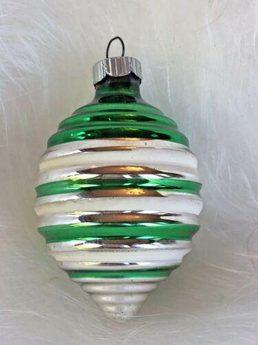 Mercury Glass Christmas Ornament Striped Japanese Lantern Shiny Brite Vintage