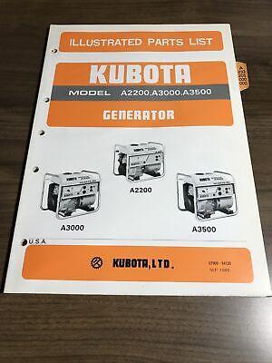 Genuine Kubota A2200 A3000 A3500 Generator Parts Book Catalog Manual