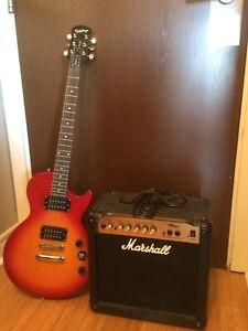 Epiphone Guitar + Marshall Amp
