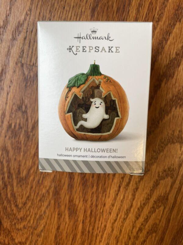 Hallmark 2014 ornament 2nd Happy Halloween Series Ghost Pumpkin NEW In box