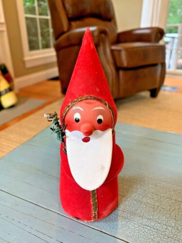 Antique Vintage Santa Candy Container Germany German Paper Mache W/ Feather Tree