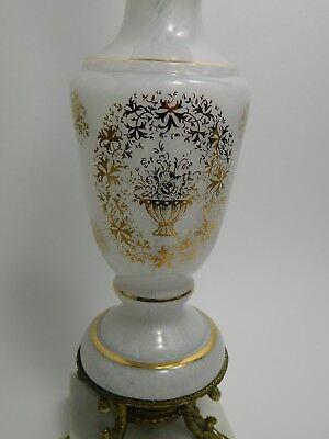 MID CENTURY MODERN HAND BLOWN GLASS TABLE LAMP MARBLE BASE BOUDOIR DECOR - Italy Table Decorations