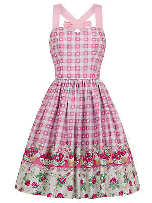 1950's Fifties Style Tea Dress Pink Gingham With Strawberry Short Cake Theme - Pink Fifties Dress