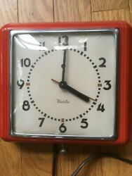 Vintage Westclox Dunbar Electric Red Wall Clock S5-C Square Good Condition Works
