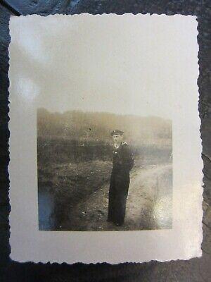 Original WWII German Kriegsmarine Sailor Soldier Stands on Dirt Path Photo