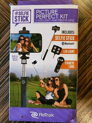 ReTrak SELFIE STICK Picture perfect kit LED light Fisheye lens bluetooth