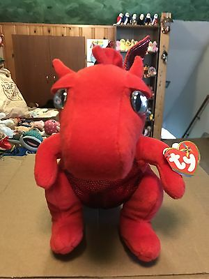 "Ty FIRE -Red Sparkly MagiQuest Dragon 10"" Beanie Buddy! *Exclusive* RARE & VHTF!"