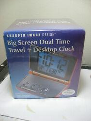 Sharper Image Big Screen Dual-Time Travel Desktop Alarm Clock Fact Seal SI615