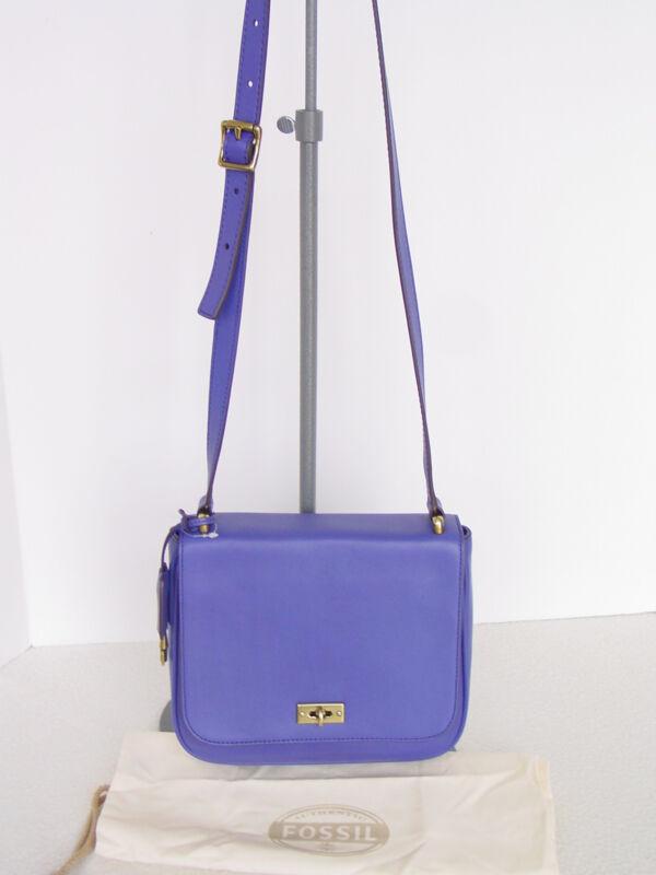 FOSSIL Leather Memoir Dark Violet CrossBody Bag w/adj.Strap +Dust Bag  NWT $148