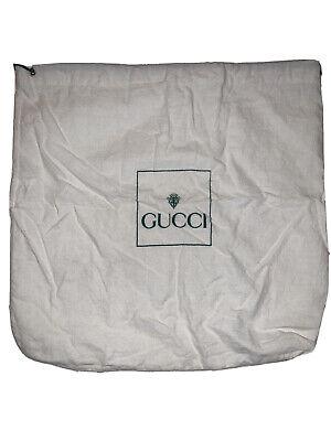 Vintage 80s Gucci Purse Cotton Dust Cover Bag Storage White Green Logo 13.5x13.5