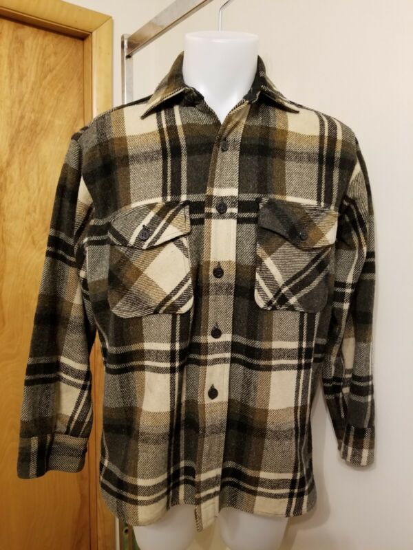 Vtg 60s Five 5 Brother Plaid Flannel CPO shirt jacket M/L anchor buttons wool