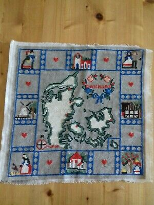 Danmark ( Denmark) Completed Sampler Wool Tapestry with map Size: 36 x 36 cm