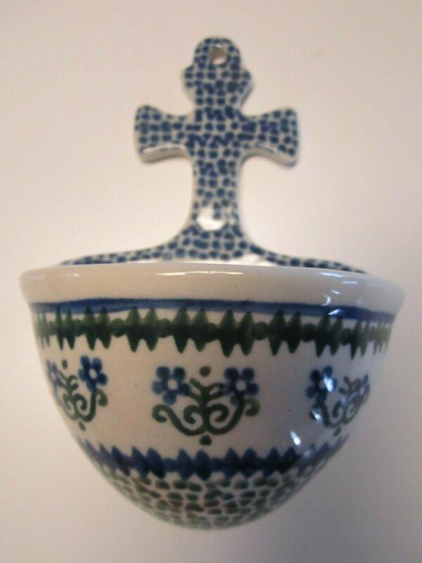 """Polish Pottery Wall Pocket 5"""" Ceramika Artystyczna Blue Green Floral Handpainted"""