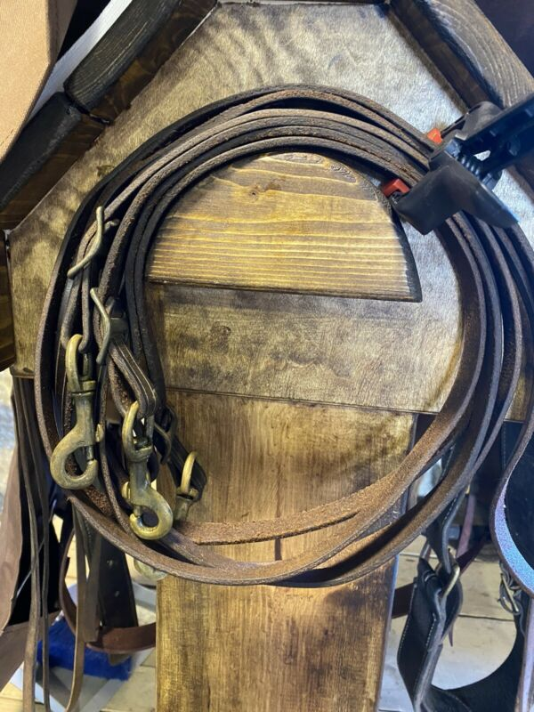 Western Leather Double Training Split Reins With Snap Attachments