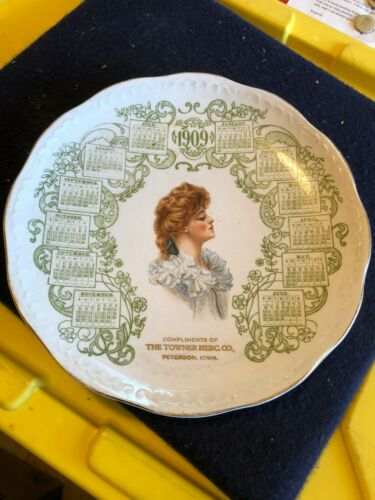 Vintage 1909 calendar advertising plate The Towner Mercantile Co. Peterson Iowa