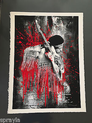 Mr. Brainwash -  Jimi Hendrix -Rare RED Version - Signed & Numbered #/70