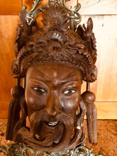 ANTIQUE CHINESE INTRICATELY CARVED MASK, GLASS EYES, DRAGONS WITH TEETH