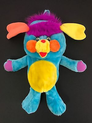 """Vintage 1980s 1986 Popples Back Pack Blue Plush Characters from Cleveland 19"""""""