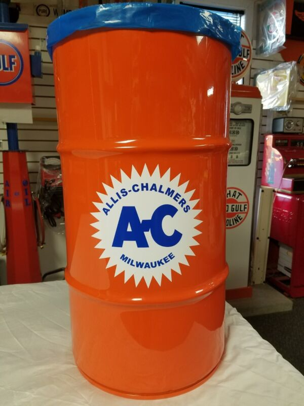 ALLIS CHALMERS AC TRACTOR VINTAGE STYLE 16 GALLON COLD ROLLED STEEL TRASH CAN