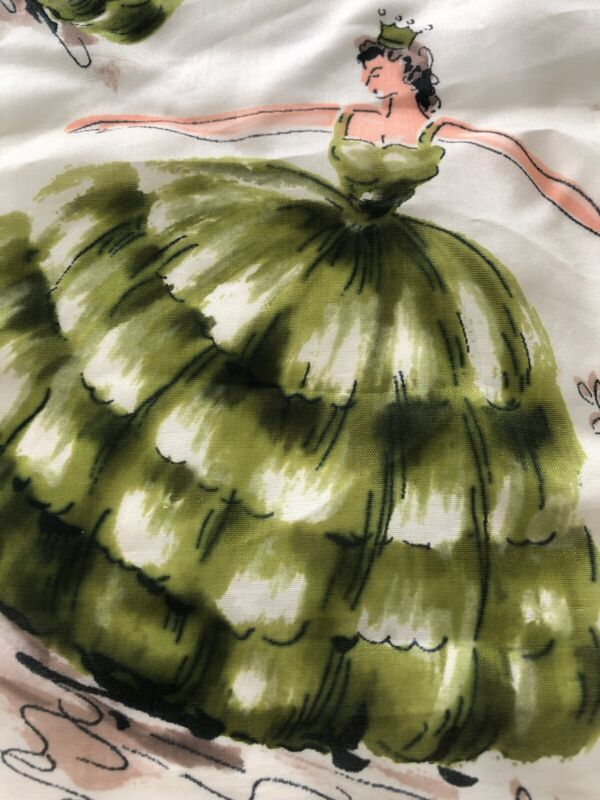 """Vintage Silk Scarf Hand Rolled DANCING Princess Puffy GREEN Floral 30"""" Square"""