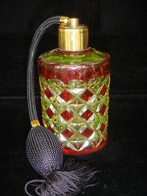 VAL ST LAMBERT CRANBERRY CUT TO VASELINE URANIUM PERFUME BOTTLE WITH ATOMIZER