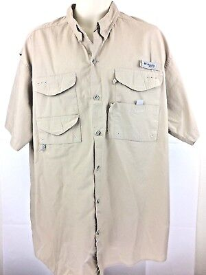 0a251d307 NWOT Columbia PFG Men's Button Front Short Sleeve Vented Fishing Khaki Size  XL